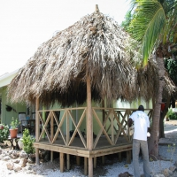 Palapa with floor and railing at La Privada